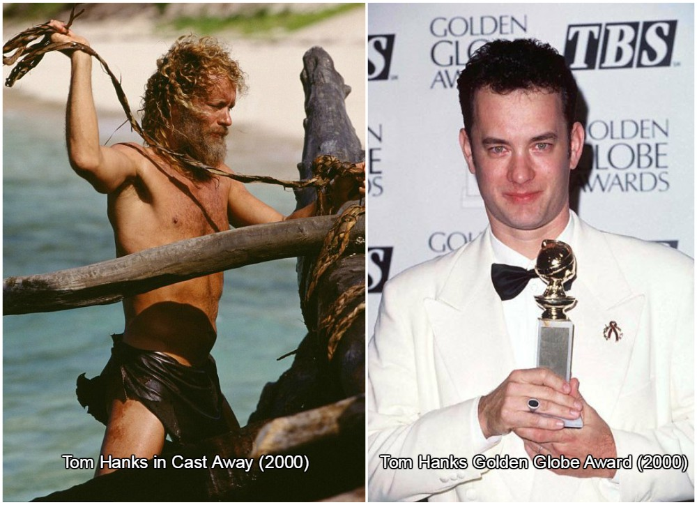 tom hanks lost 50 pounds (22,5 kilos) for the role in Cast Away