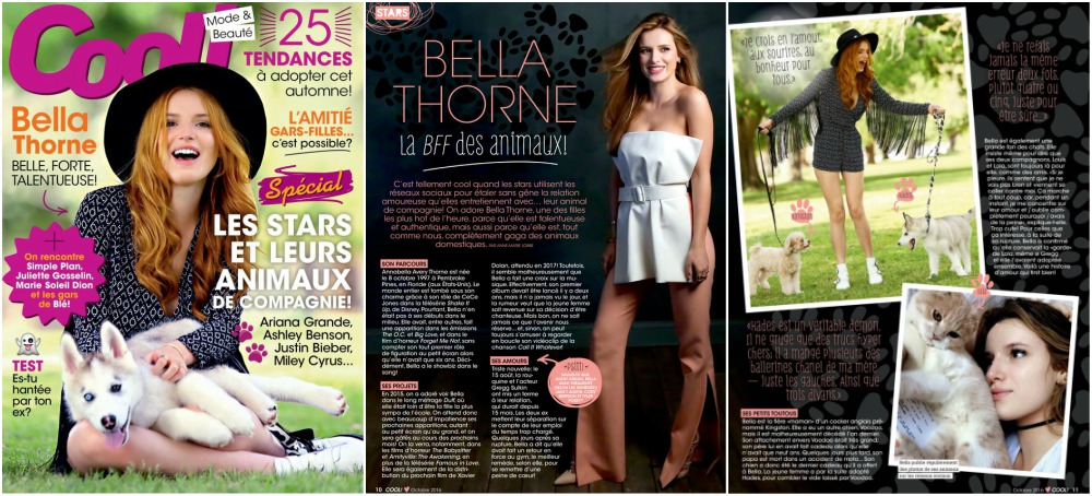 Bella Thorne magazine Cool (France) cover, October 2016