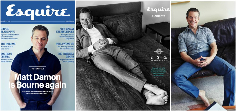 Matt Damon on the cover of  Esquire magazine, UK, August 2016