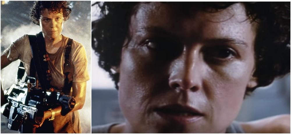 Sigourney Weaver`s hairstyle in movie Aliens, 1986