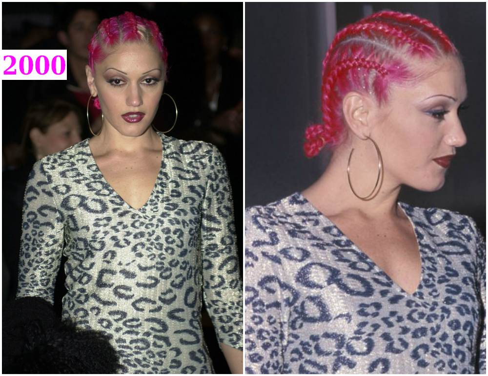 Gwen Stefani`s hairstyle - pink hair with glitter and corn rows  in 2000