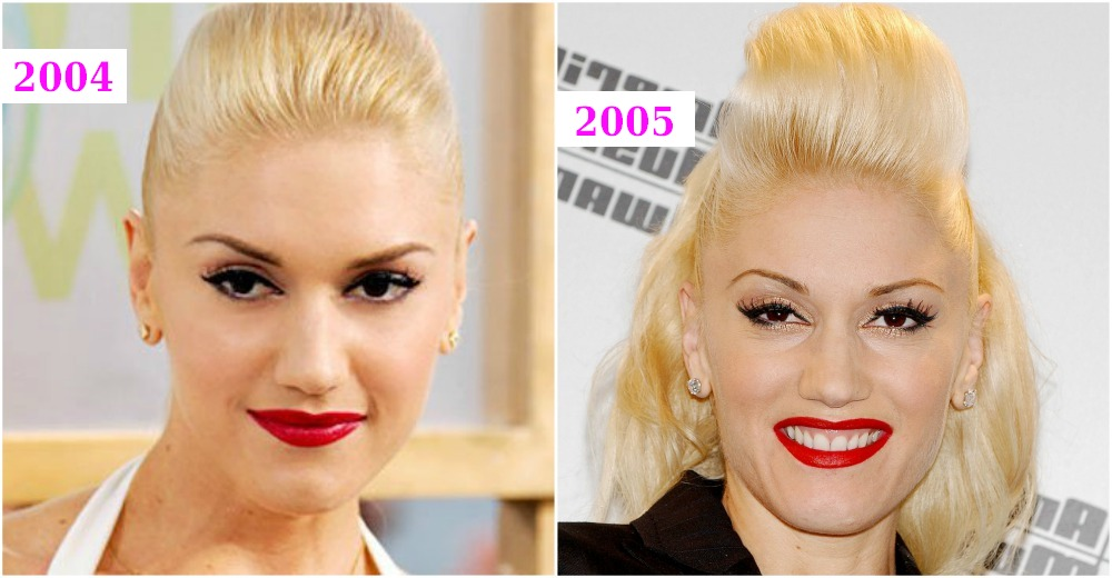 Gwen Stefani`s hairstyles changes from 2004 to 2005