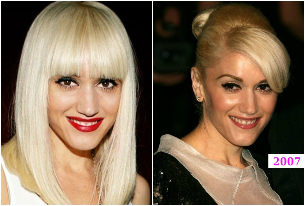 Gwen Stefani`s hairdos changes in 2007