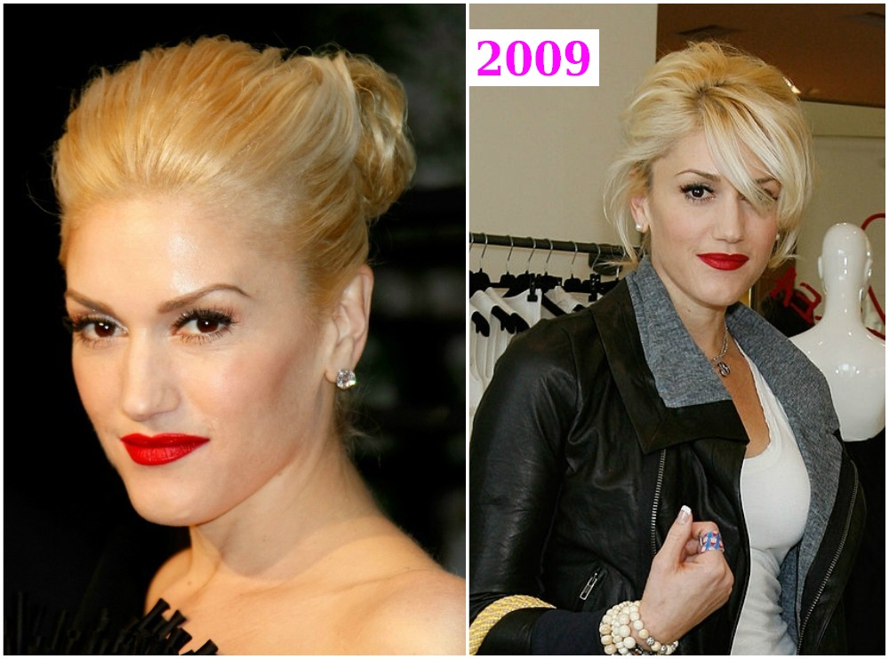 Gwen Stefani`s hairdos changes in 2009