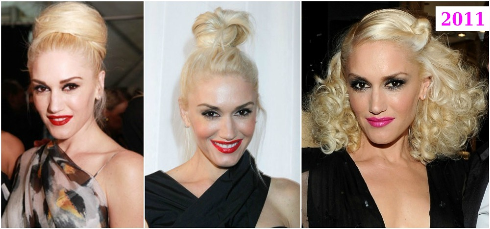 Gwen Stefani`s hairdos changes in 2011