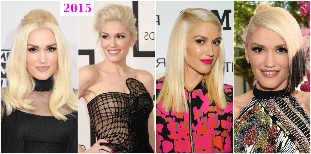 Gwen Stefani`s hairdos changes in 2015