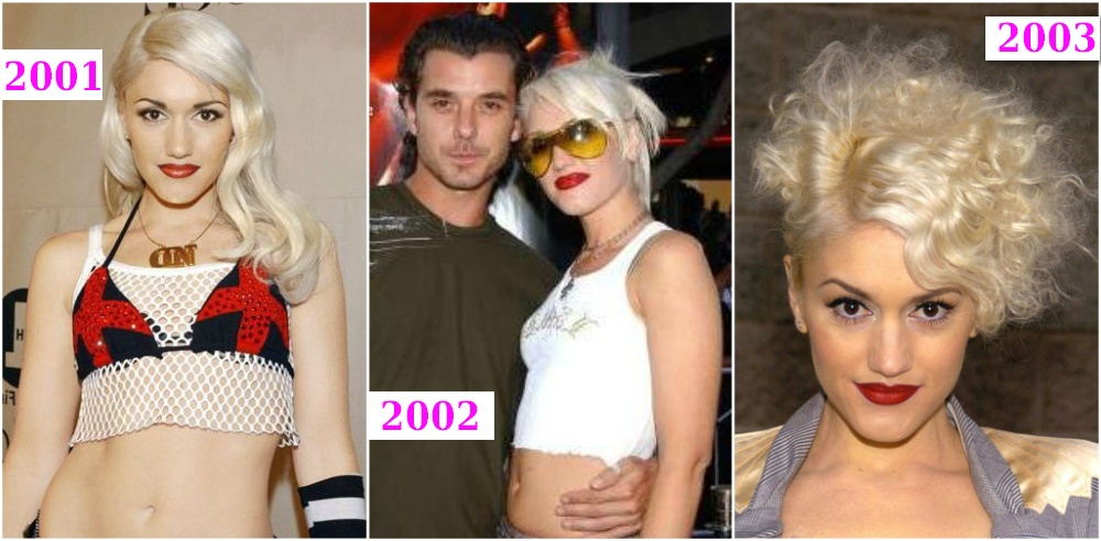 Gwen Stefani`s hairstyles changes from 2001 to 2003