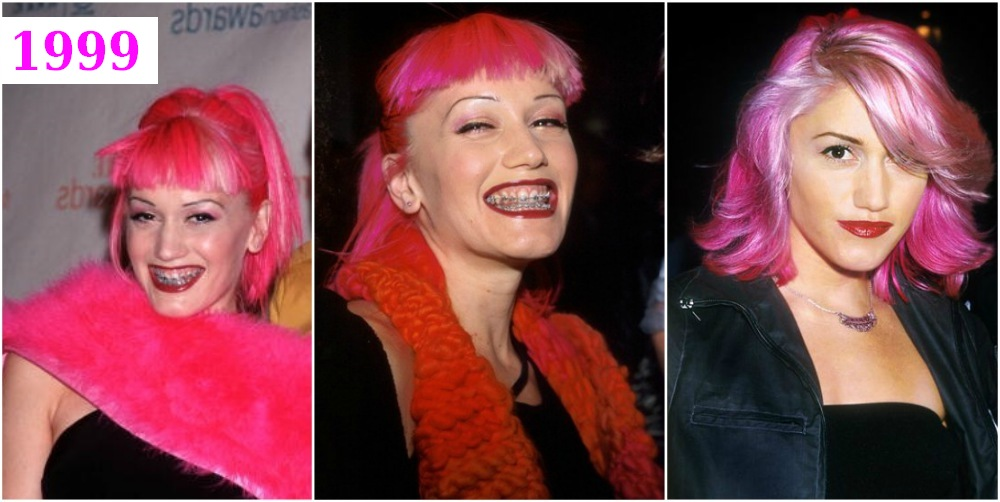 Gwen Stefani`s hairstyle - pink hair in 1999
