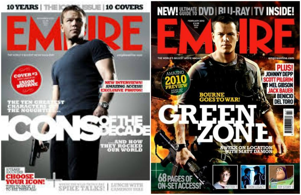 Matt Damon`s magazine cover Empire, December 2009 and February 2010, UK