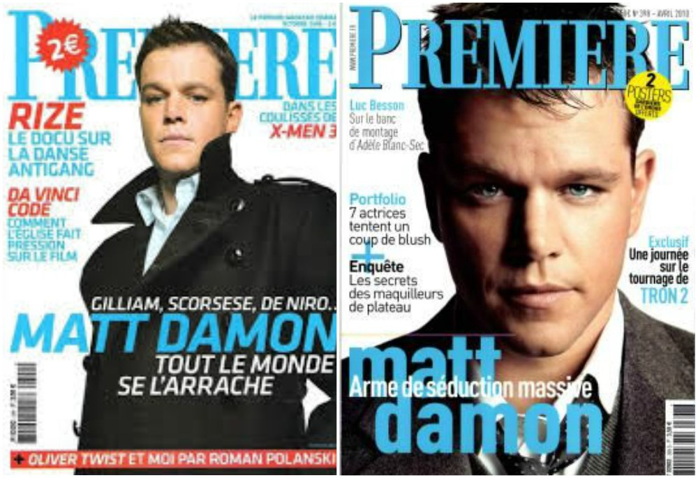 Matt Damon`s magazine cover Premiere, October 2005 and April 2010, France
