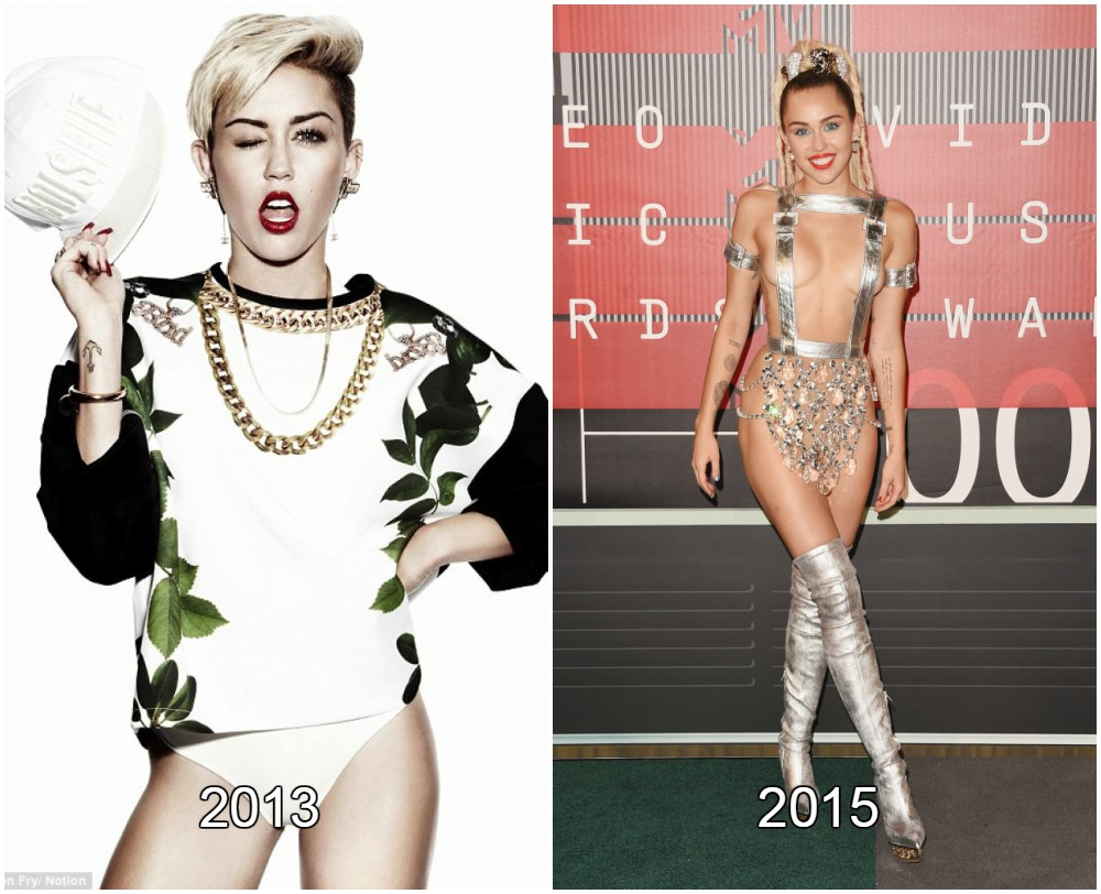Miley Cyrus weight loss from 2013 to 2015