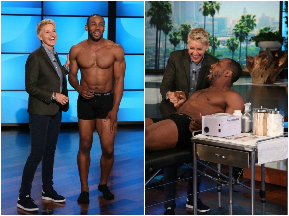 Stephen Twitch Boss body on Elen Show, 2014