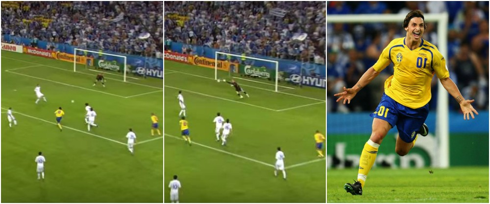 Zlatan Ibrahimovic best goals throughout career - Sweden vs Greece, Euro Championship 2008
