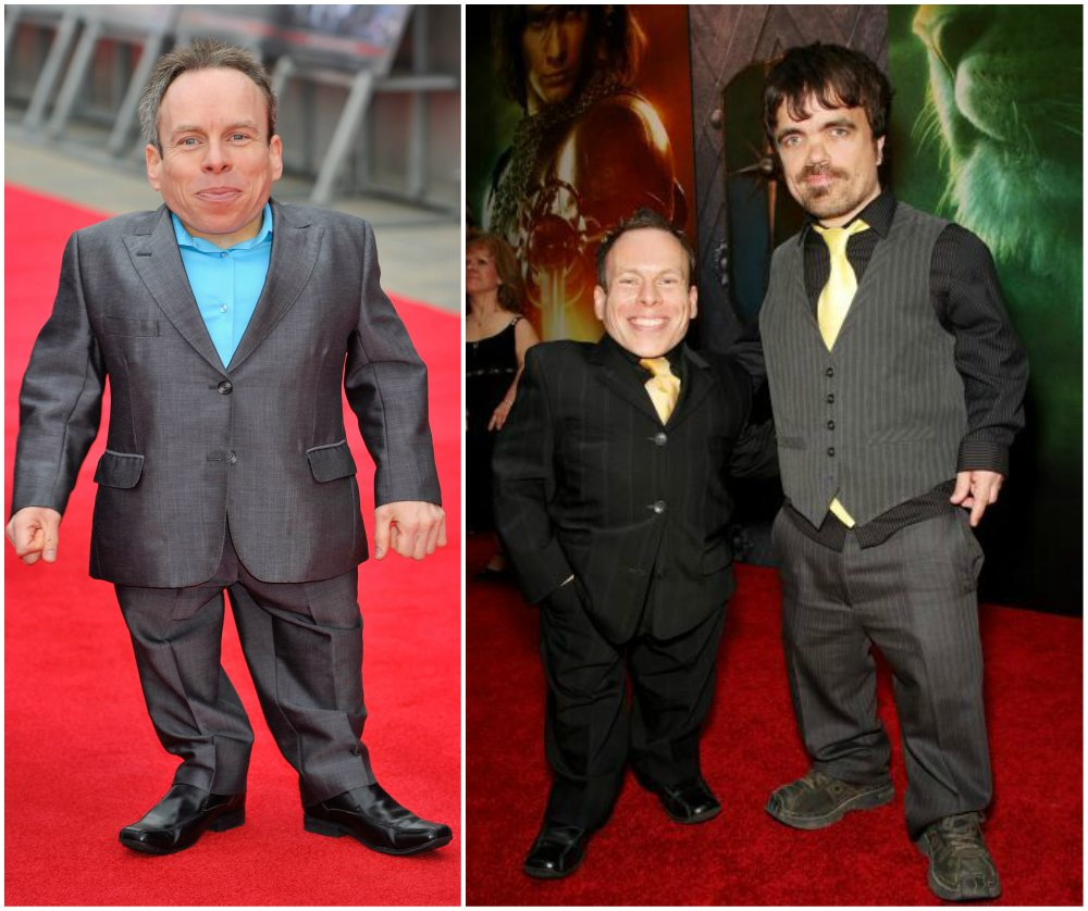 Warwick Davis`s height is 107cm / 3' 6in. On the right photo he is with Peter Dinklage
