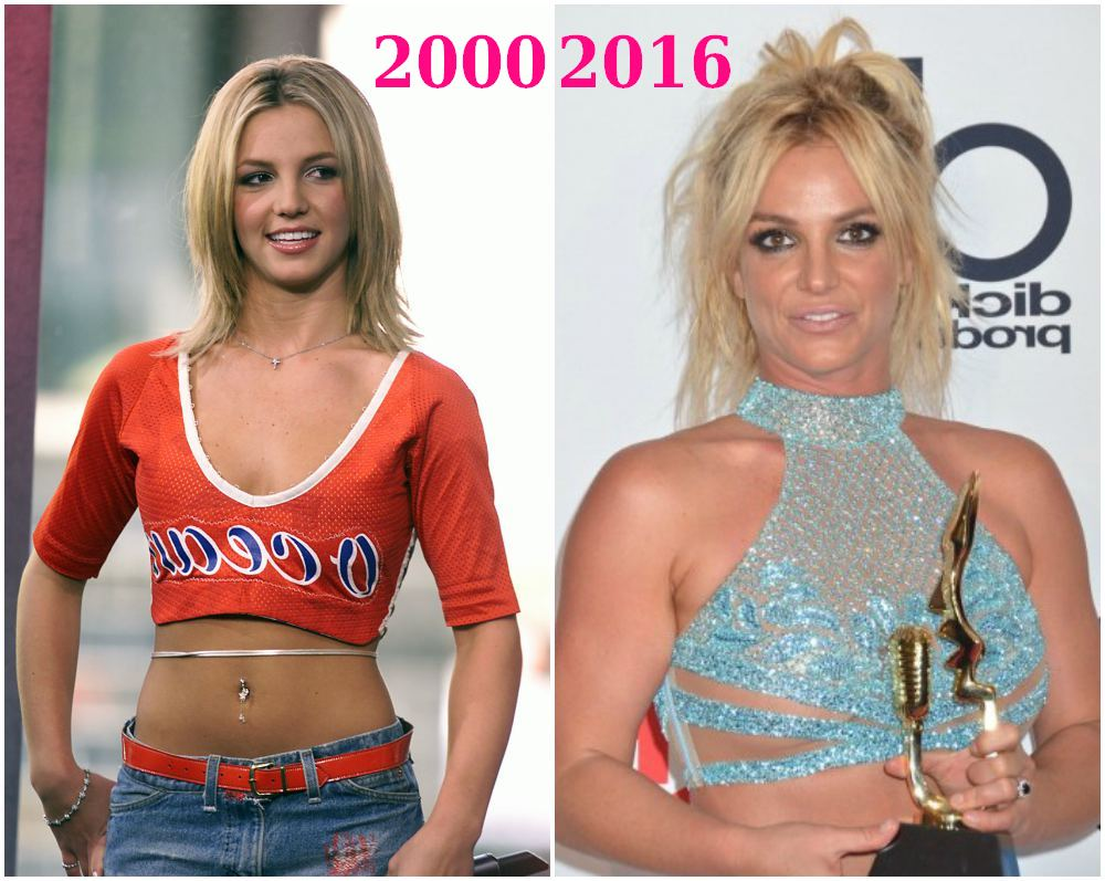 how did britney spears changed from 2000 to 2016