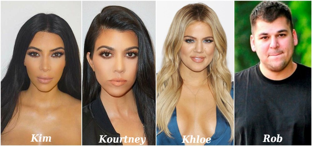 Famous siblings in Hollywood - Kim, Kourtney, Khloé and Rob Kardashian