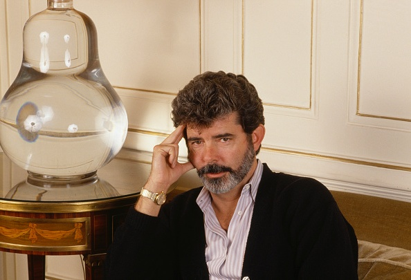 George Lucas` eyes and hair color