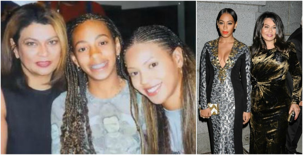 Solange Knowles with mother and sister