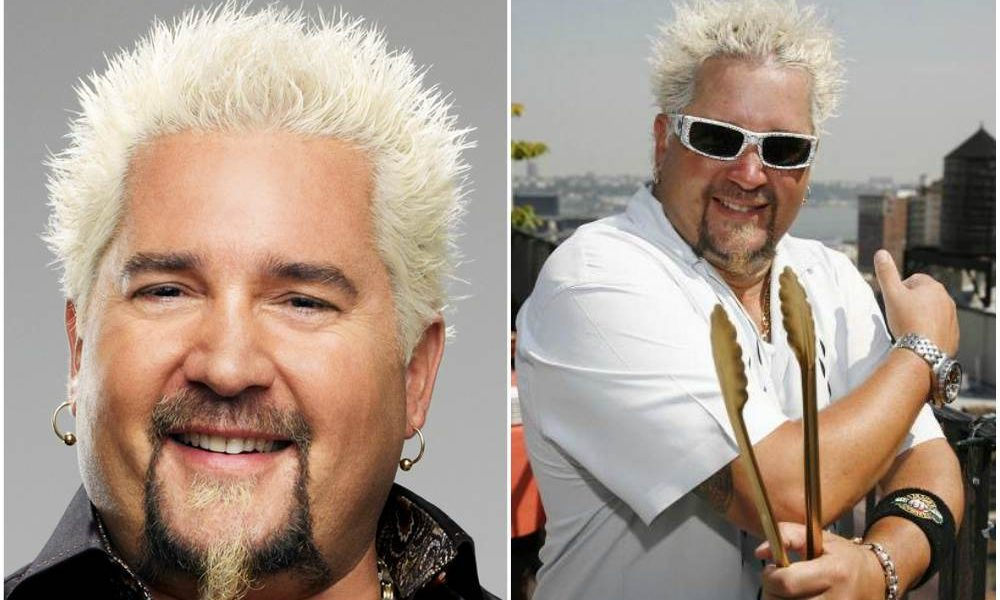 Guy Fieri`s eyes and hair color
