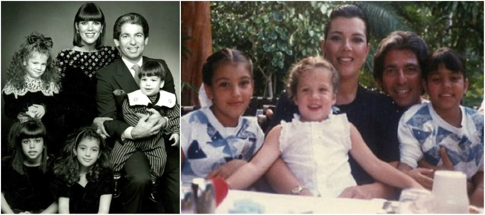 Young Kim Kardashian with parents and siblings
