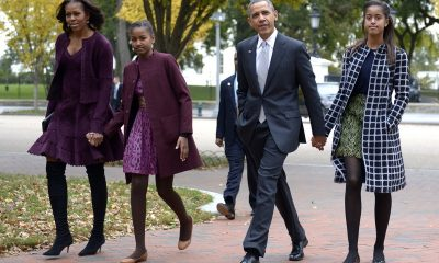 Barack Obama with his kids and wife