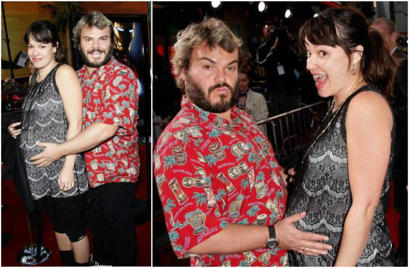 Actor Jack Black`s family - pregnant wife Tanya Haden