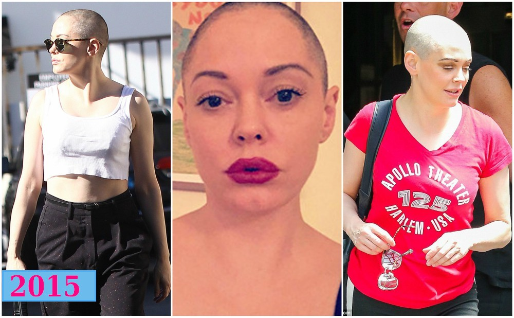 rose mcgowan bald in 2015