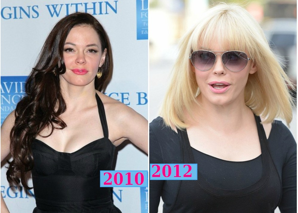 rose mcgowan dark hair in 2010 and blonde hair in 2012