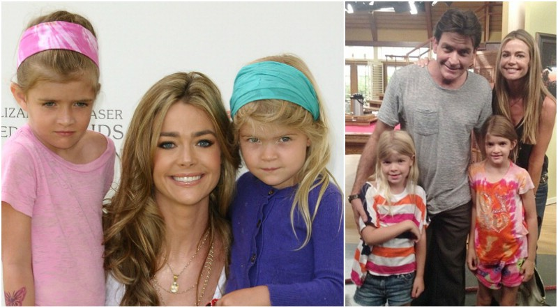 Charlie Sheen`s family - daughters Lola, Sam and ex-wife Denise Richards