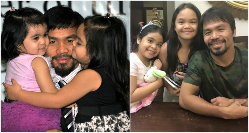 Manny Pacquiao`s children - daughters Mary and Queen Elizabeth