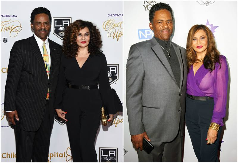 Beyonce`s family - mother Tina Knowles with husband Richard Lawson