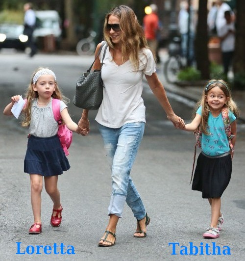 Sarah Jessica Parker`s kids - twin daughters - Loretta and Tabitha Broderick