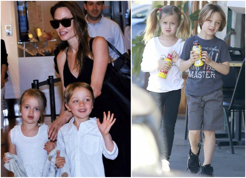 Angelina Jolie`s children - twins Vivienne Marcheline and Knox Leon Jolie-Pitt