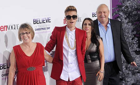 Justin Bieber's family - grandmother, mother and step-grandfather
