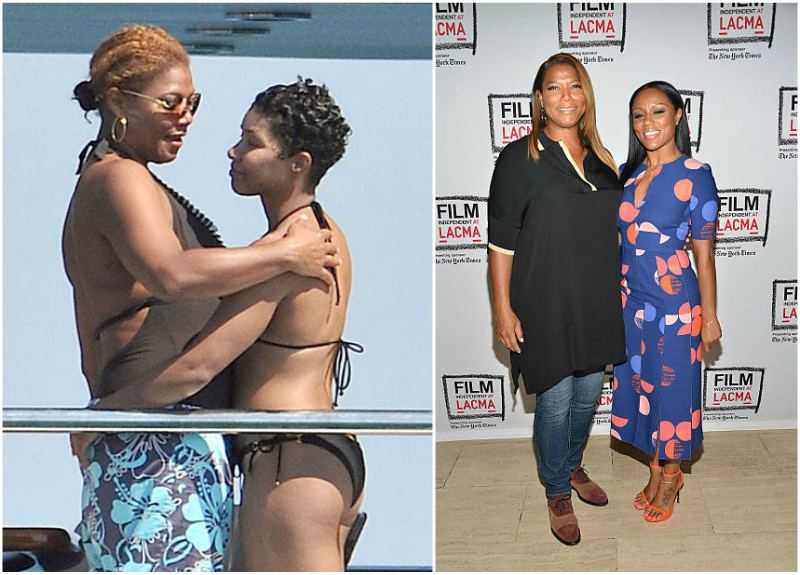 Queen Latifah's ex-partners Jeanette Jenkins (left) and Eboni Nichols (right).