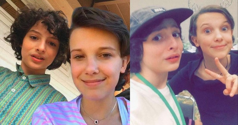 Finn Wolfhard with Millie Bobby Brown